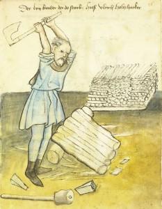 Wood cutter from Das Hausbuch der Mendelschen Zwölfbrüderstiftung in Nürnberg Amb. 317.2 ° Folio 26 recto (Mendel I)