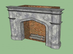Will assize length logs fit widthways within the fireplaces at Hampton Court? Fireplace model (c) Cealpup on Sketchup Make 2016