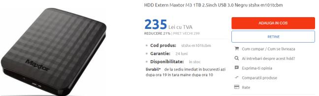 Cel mai ieftin HDD Extern 1 Tb 3.0