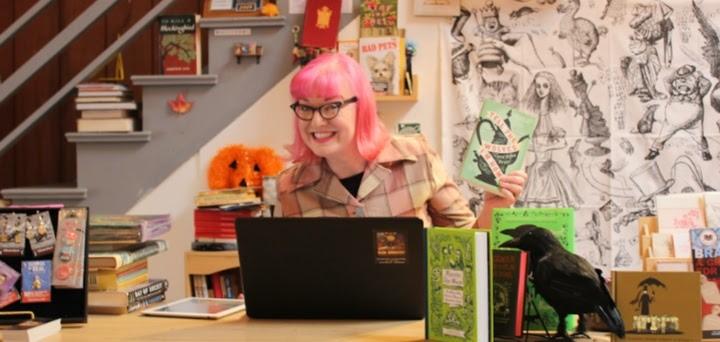 Karen Finlay smiling at book store