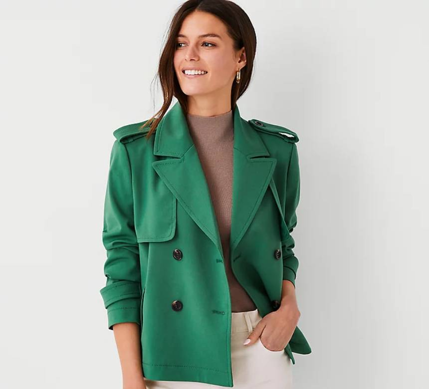 green Ann Taylor trench coat