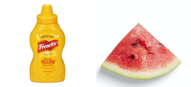 a bottle of French's yellow mustard and a slice of watermelon