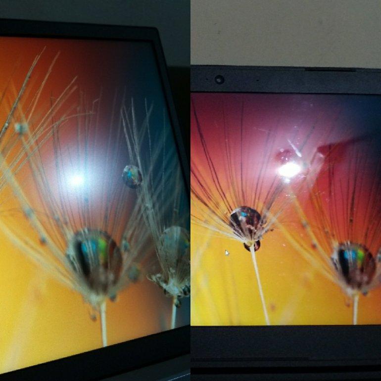 Pantulan lampu pada layar anti-glare vs layar glossy