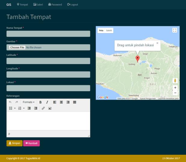 Sistem Informasi Geografis Tambah Tempat