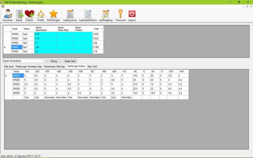 SPK Metode Profile Matching VB Form Perhitungan