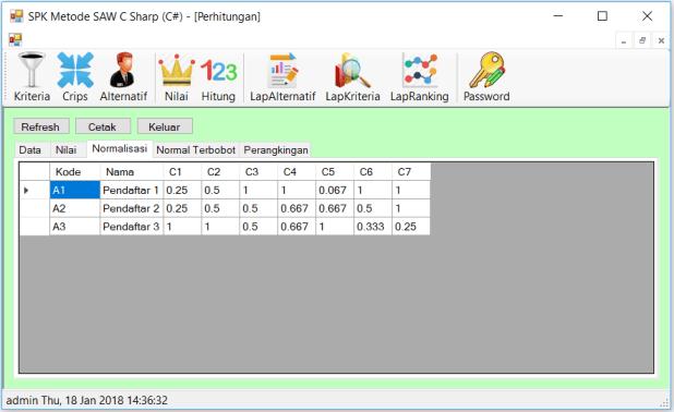 SPK Metode SAW C Sharp Form Perhitungan