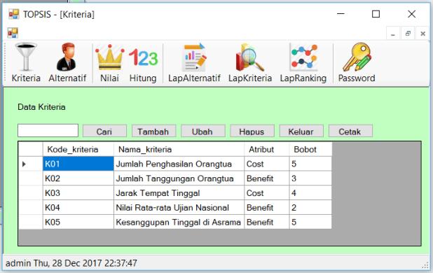 Source Code SPK Metode TOPSIS C Sharp FrmKriteria