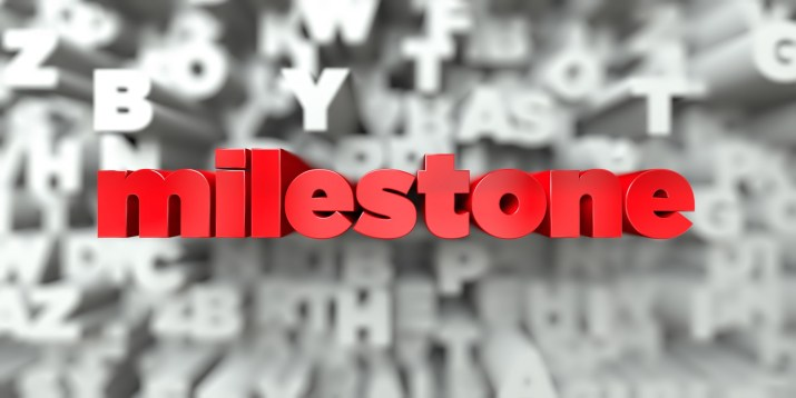 milestone -  Red text on typography background - 3D rendered royalty free stock image. This image can be used for an online website banner ad or a print postcard.