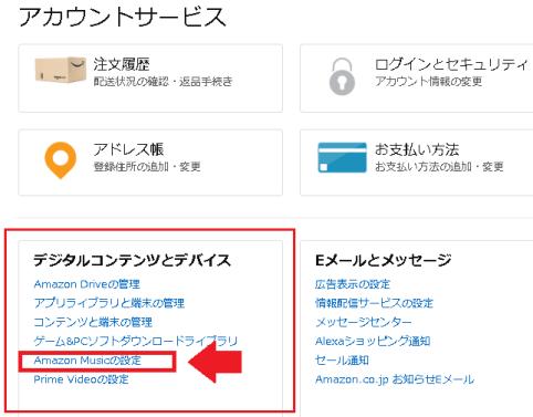 Amazonアカウントサービスのプライムミュージックの設定メニュー