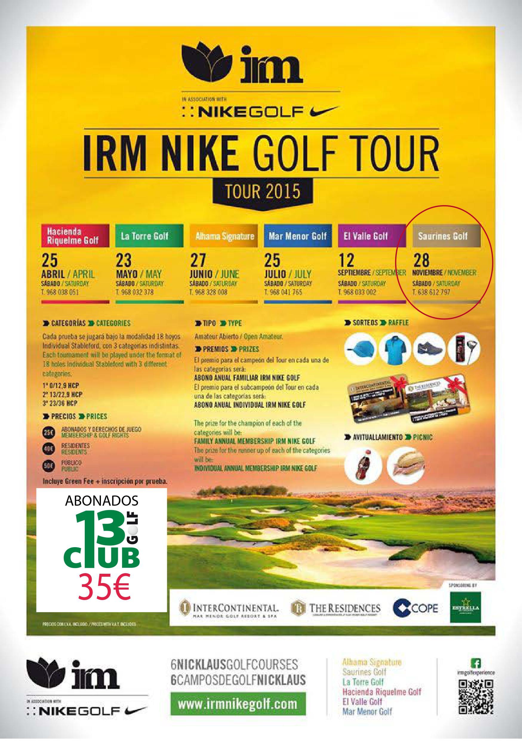 Cartel para abonados de 13 Golf