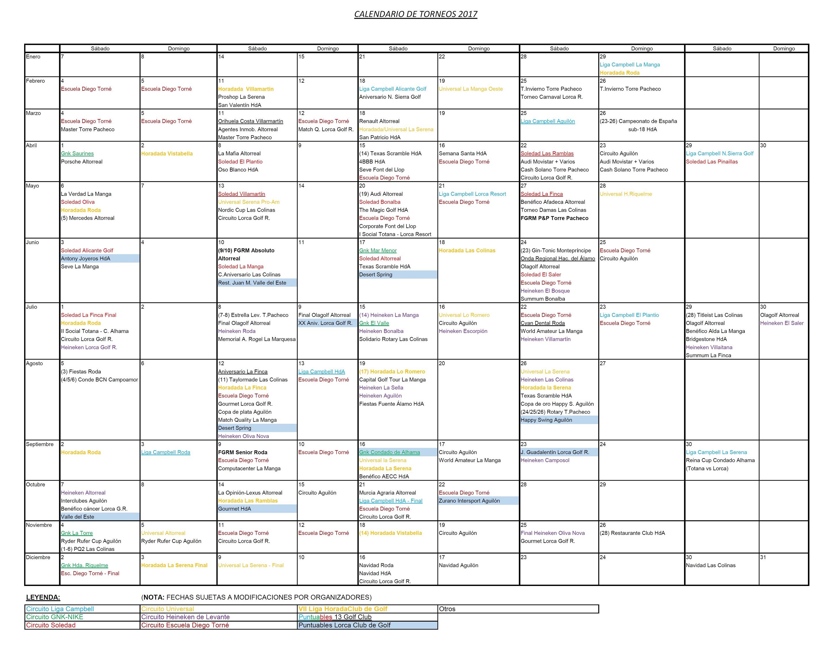170627 Actualización de Calendario de Torneos