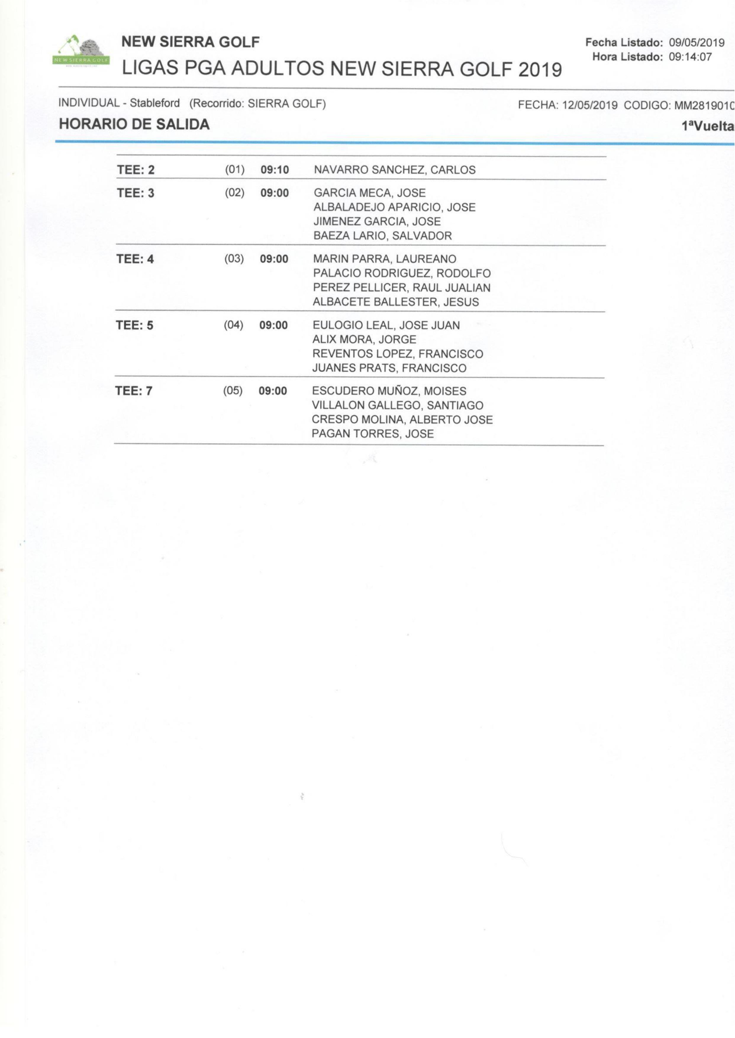 190512 NSG, Horario de salidas (1)