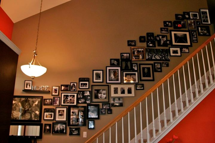 decorating-ideas-inspiring-staircase-decoration-using-picture-collage-wall-staircase-decor-including-oak-wood-staircase-handrail-and-white-wood-staircase-spindles-amusing-images-of-picture-collage-wal