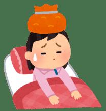 インフルエンザに伴う頭痛で頭を冷やす人