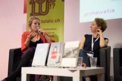 Xochitl Borel et Marianne Brun sur la scène de la Place suisse du Salon du livre de Genève © Sandra Hildebrandt