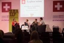 Xochitl Borel, Marianne Brun, Anne Brécart et Pierre Fankhauser sur la scène de la Place suisse du Salon du livre de Genève © Sandra Hildebrandt