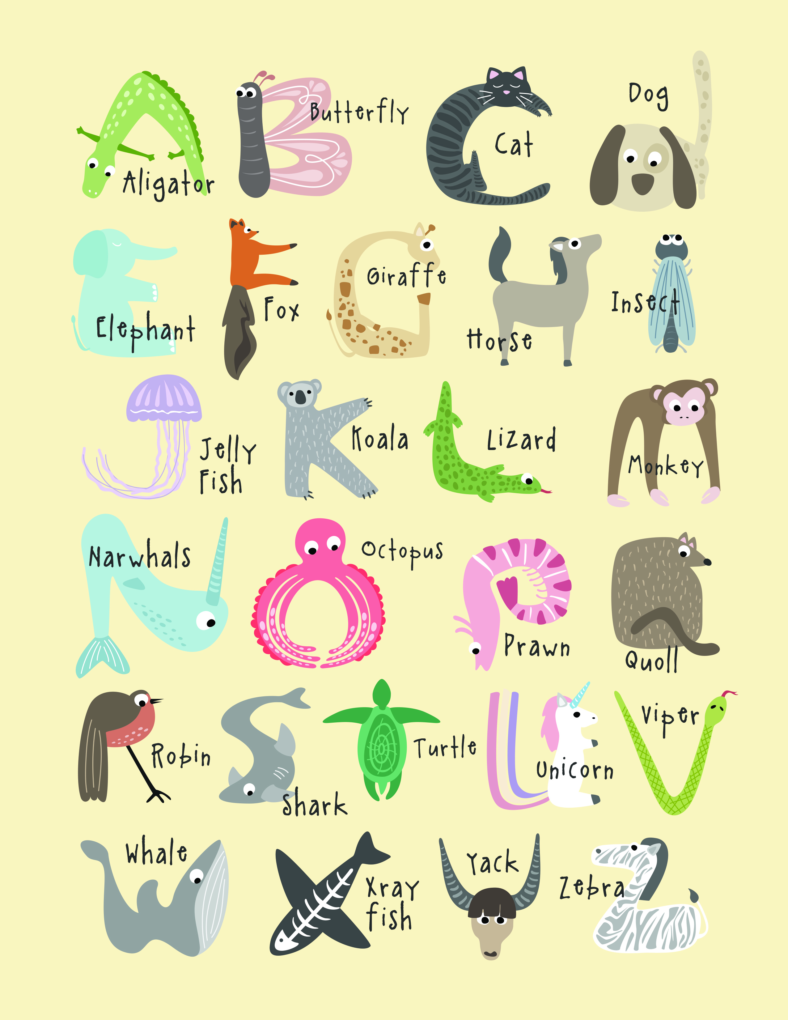Free Cute And Educational Animal Alphabet Printables