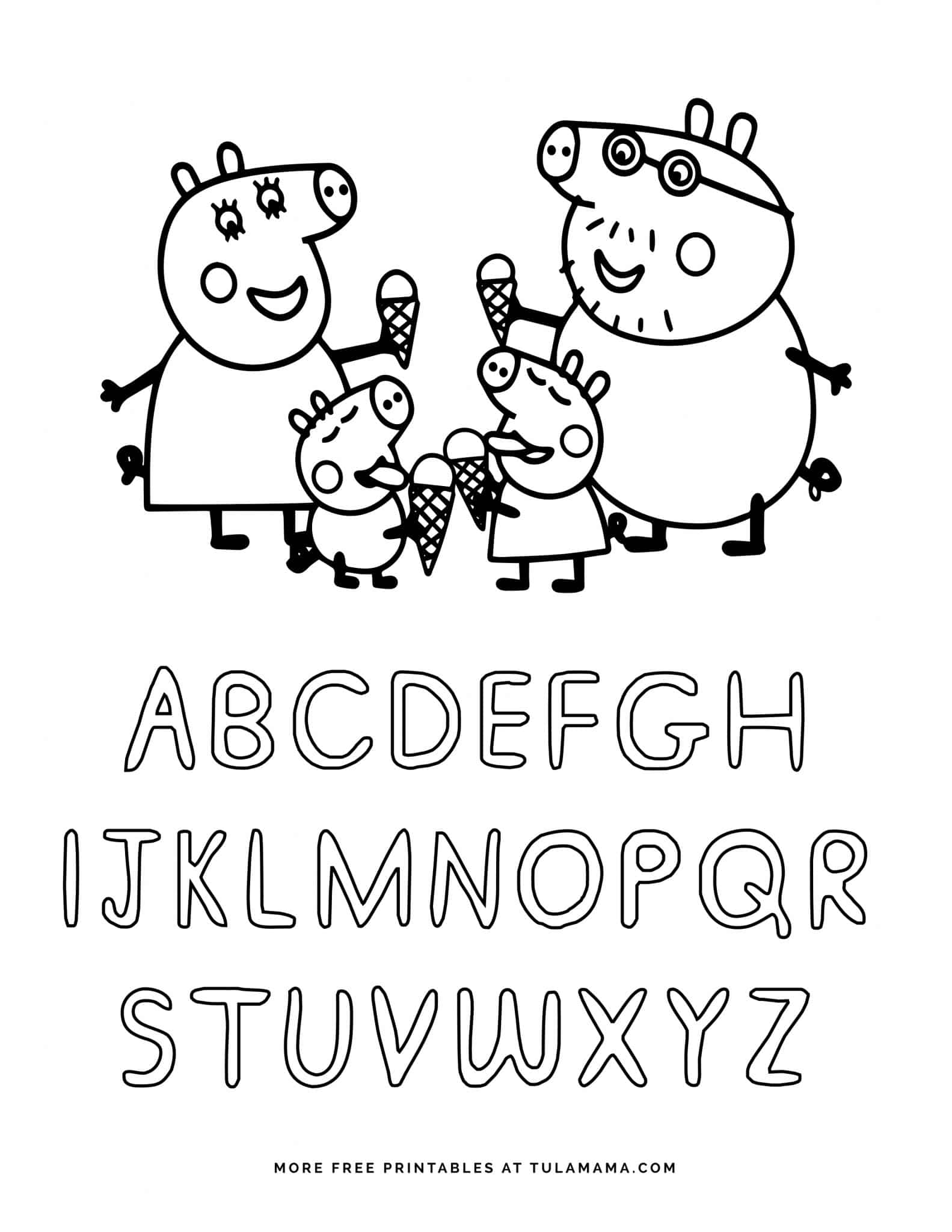 Free Printable Peppa Pig Abc Coloring Pages For
