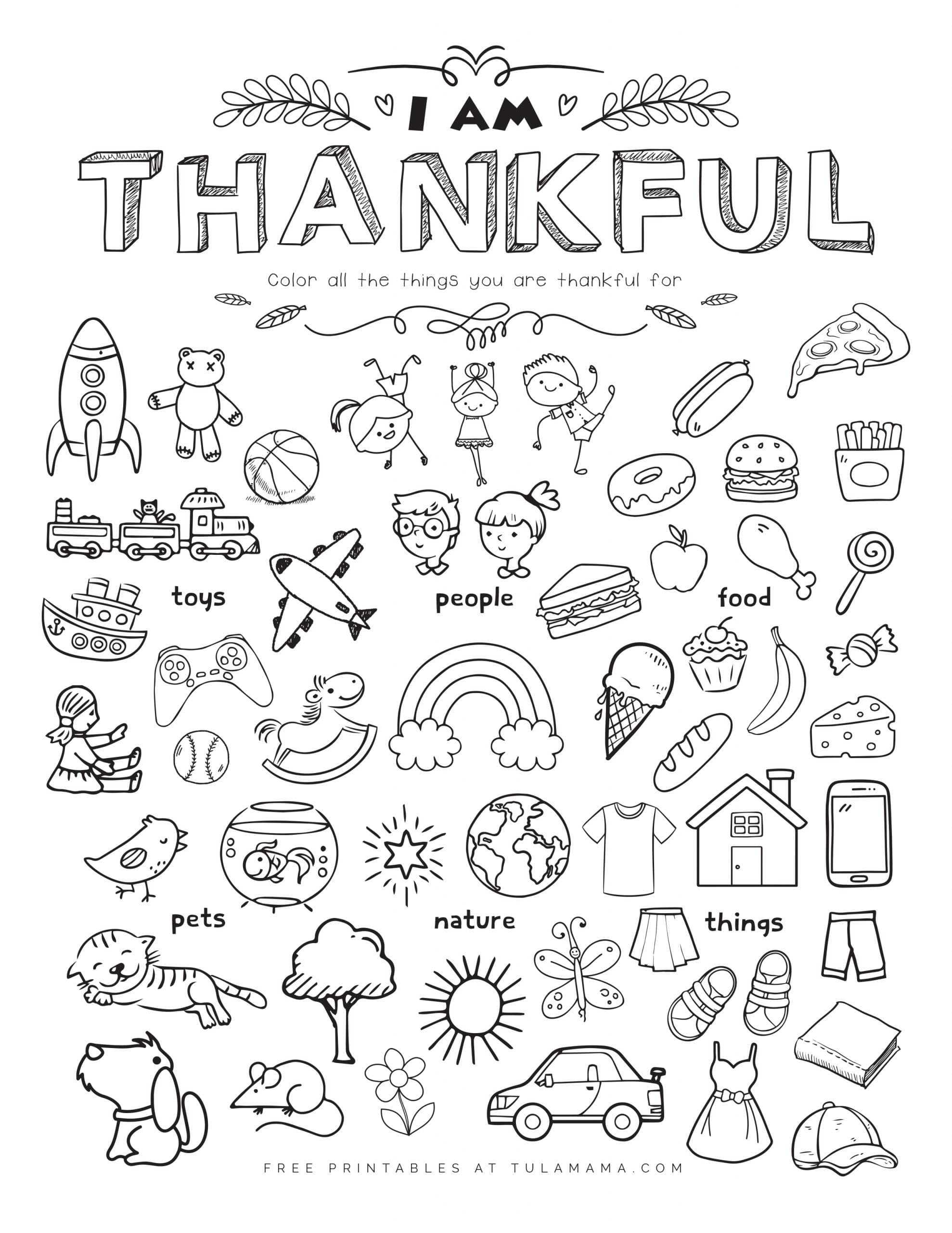 Free Printable I Am Thankful For Worksheet