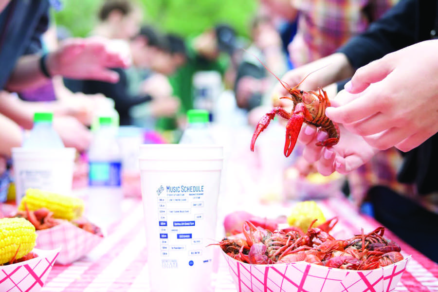 Crawfest+2016+attendees+enjoy+the+event%27s+namesake+food.+This+year+marks+the+11th+Crawfest+celebration%2C+offering+food%2C+music+and+family+friendly+fun+Saturday+at+the+Lavin-Bernick+Center+for+University+Life+and+Newcomb+Quadrangles.