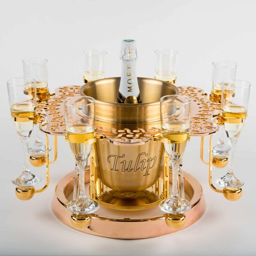 écrin à champagne de luxe or dentelle édition