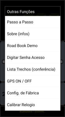 Menu do aplicativo Sensor Blue (Imagem2)