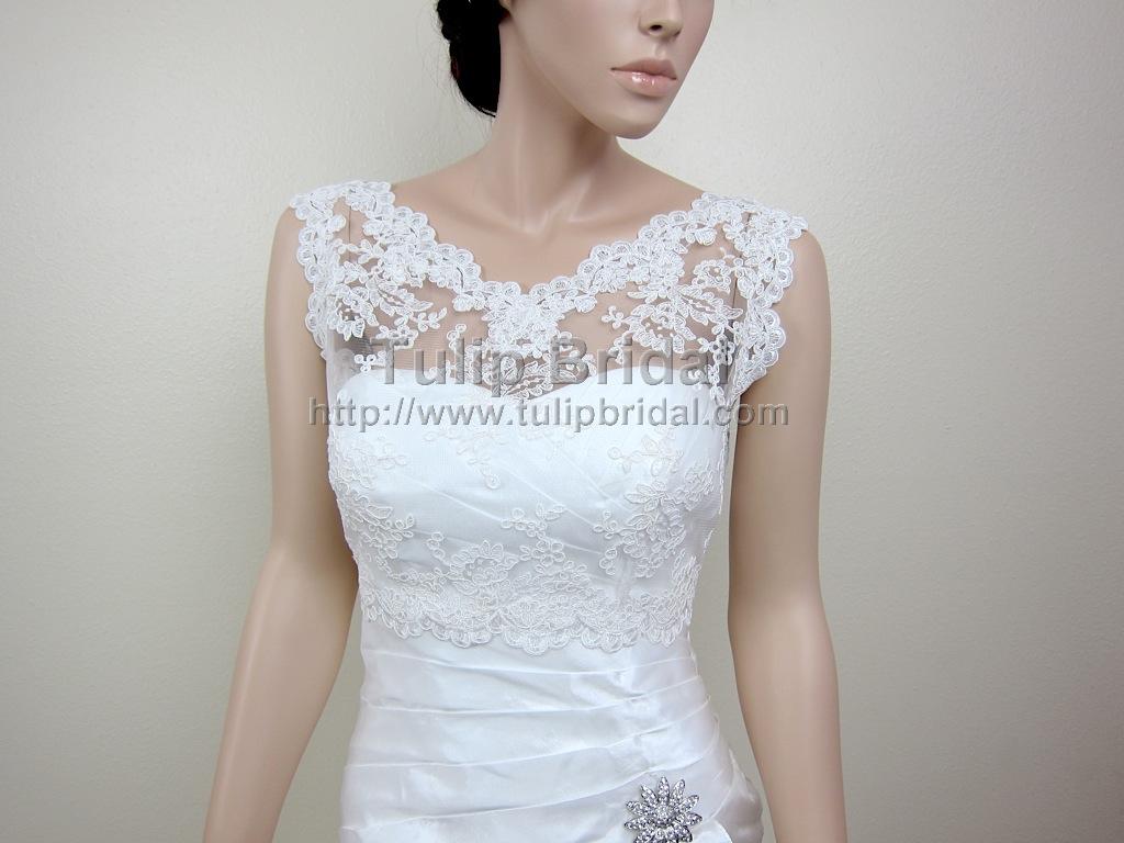 V-neck Re-embroidered Lace Bolero Wedding Jacket