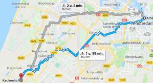 cycle route amsterdam keukenhof