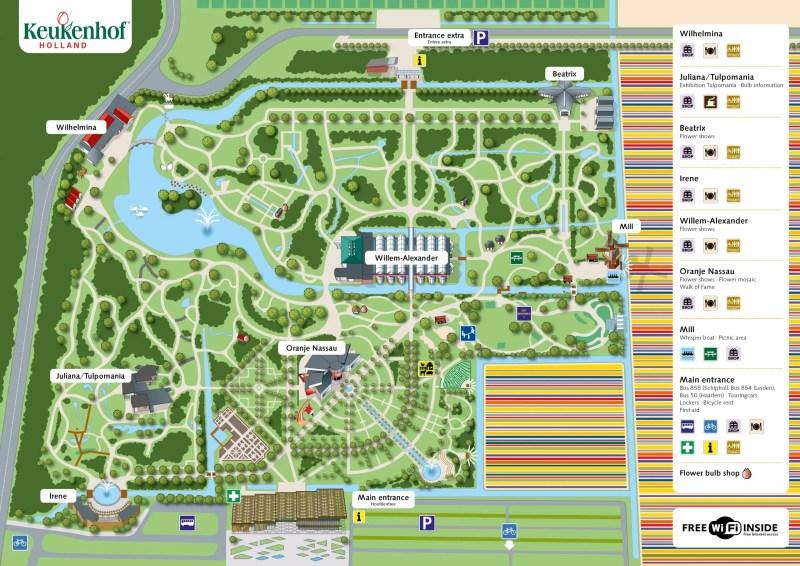 Plan des jardins de Keukenhof