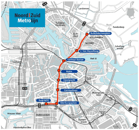Metro M52 map Amsterdam Center