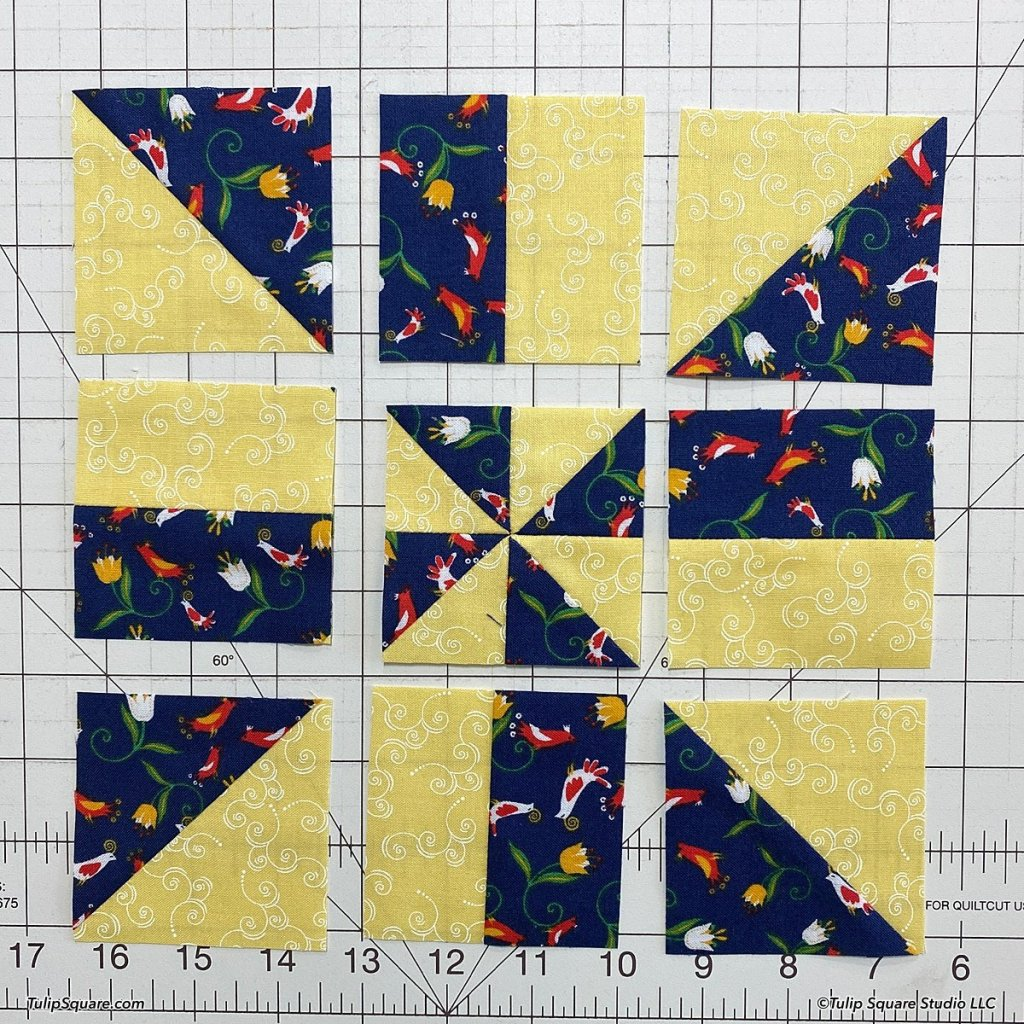 How to make disappearing windmills quilt blocks step 9