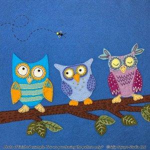 Night Owls Felt Appliqué Pattern Detail