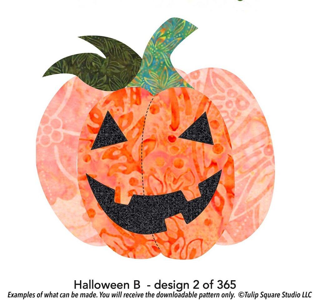 Free halloween jack-o-lantern appliqué pattern
