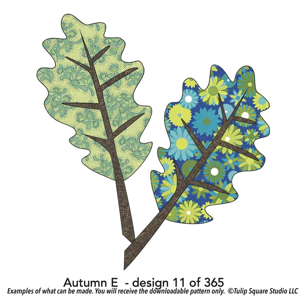 Drawing of two simple leaves, filled with green and aqua flowered fabrics.