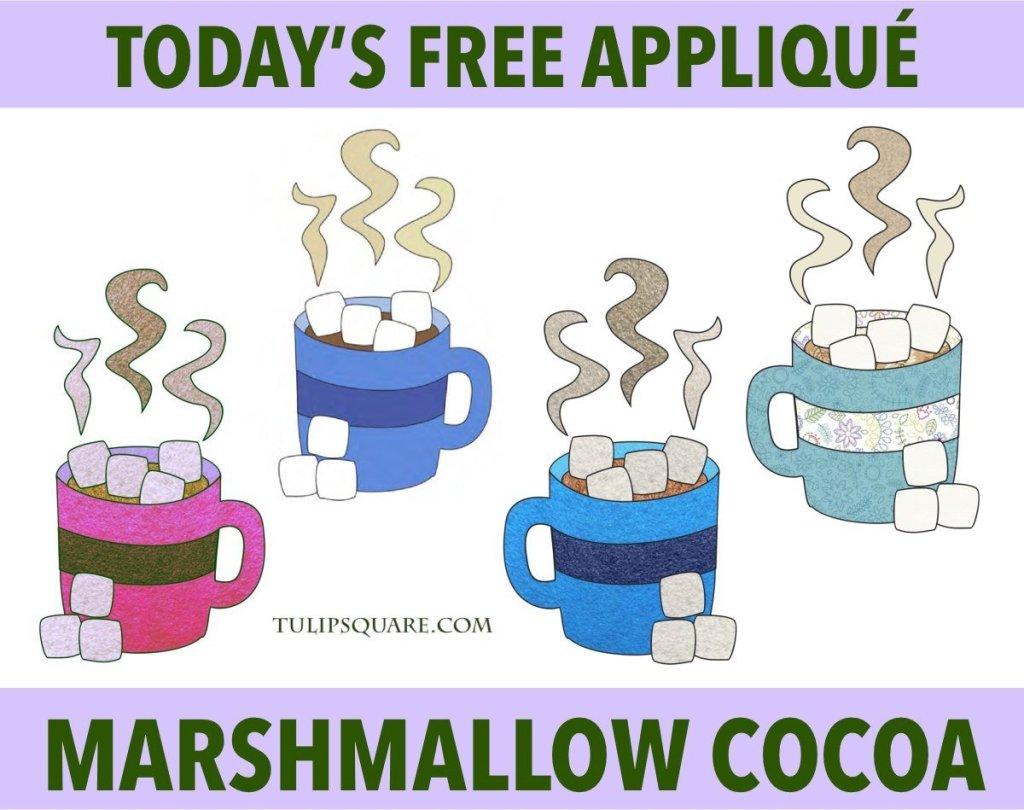Free Winter Appliqué Pattern - Marshmallow Cocoa
