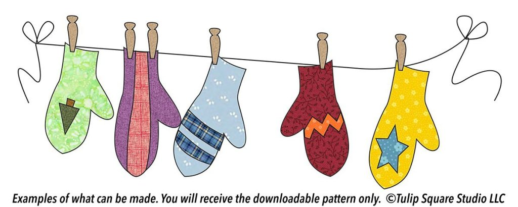 A drawing of 5 mismatched mittens of various colors and styles, on a clothesline.