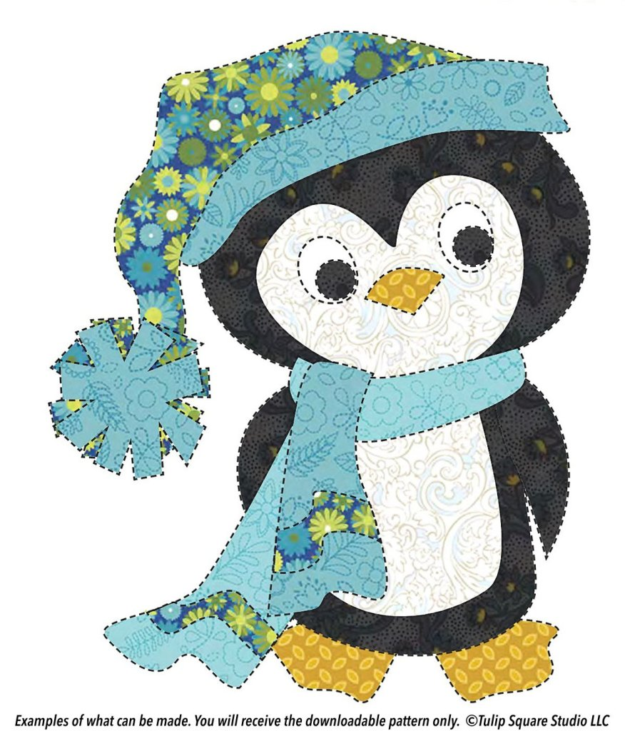 Cute whimsical penguin made of appliquéd fabric, wearing a winter hat and scarf.