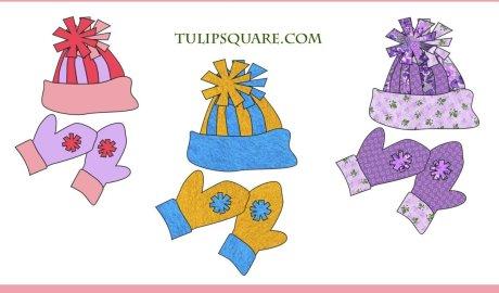 Free Winter Appliqué Pattern - Hat & Mittens