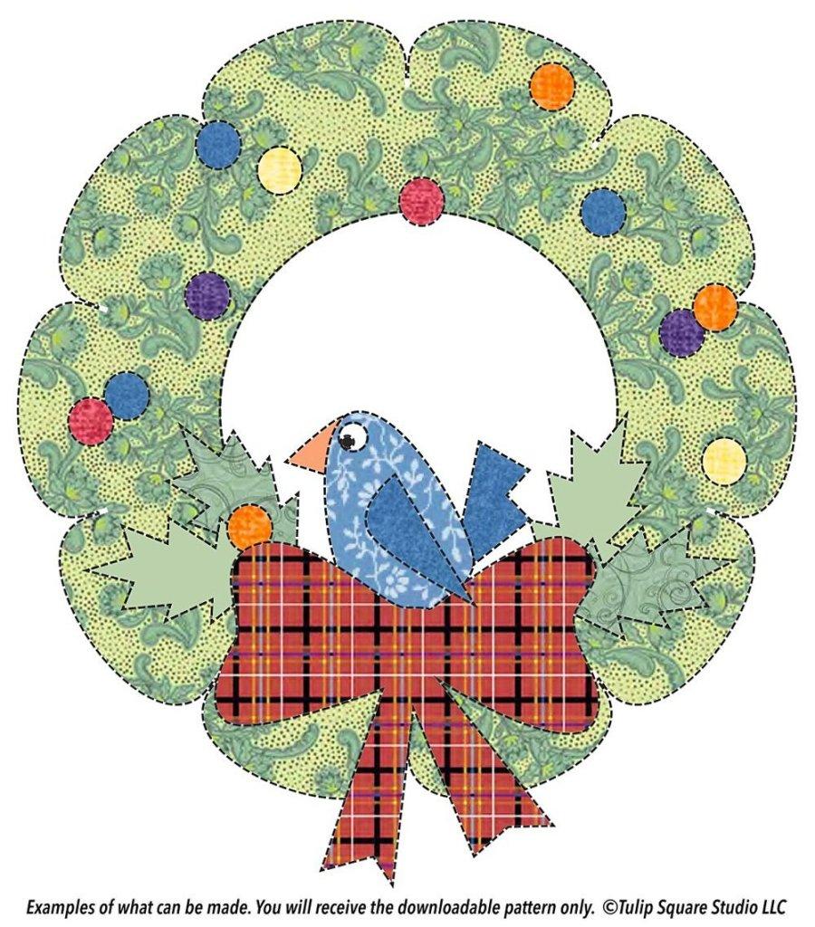 Free Christmas Appliqué Pattern - Bird in a Wreath - Cute bird drawn in a whimsical style, sitting I n a Christmas wreath with a big plaid bow.