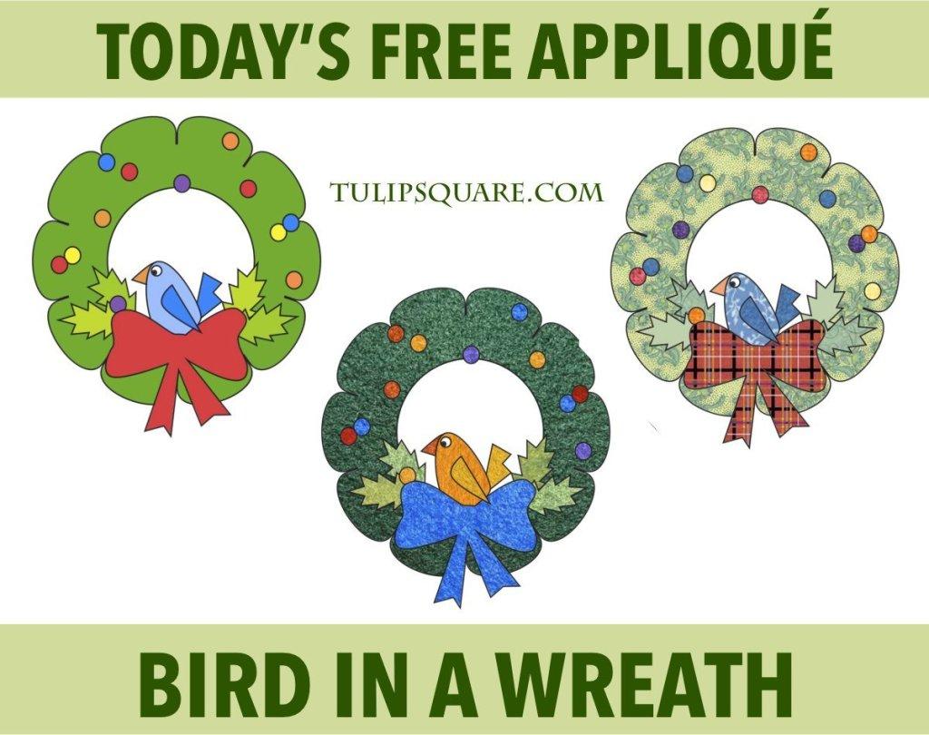 Free Christmas Appliqué Pattern - Bird in a Wreath
