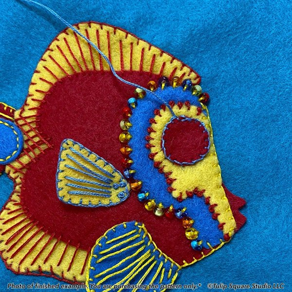 Fancy Fish 1 Felt Appliqué Pattern Detail