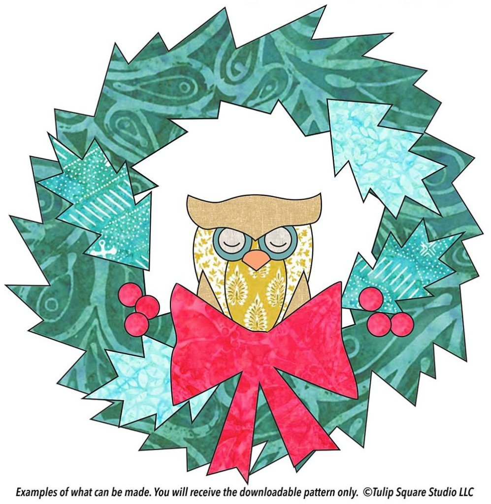 Hand drawn sleepy owl in the middle of a green wreath with berries and a big red bow.