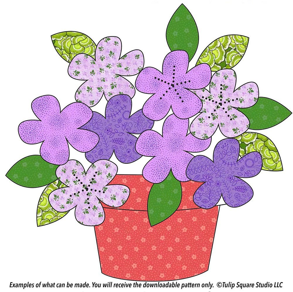 Graphic of several simple flowers in a pot with leaves, made with patterned fabrics.