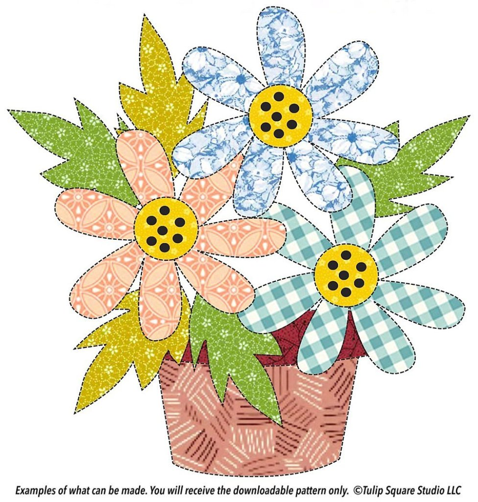 Drawing of three fabric flowers with leaves in a patterned fabric pot, appliquéd.
