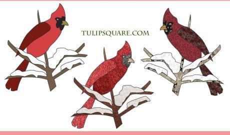 Free Bird Appliqué Pattern - Snowy Cardinal