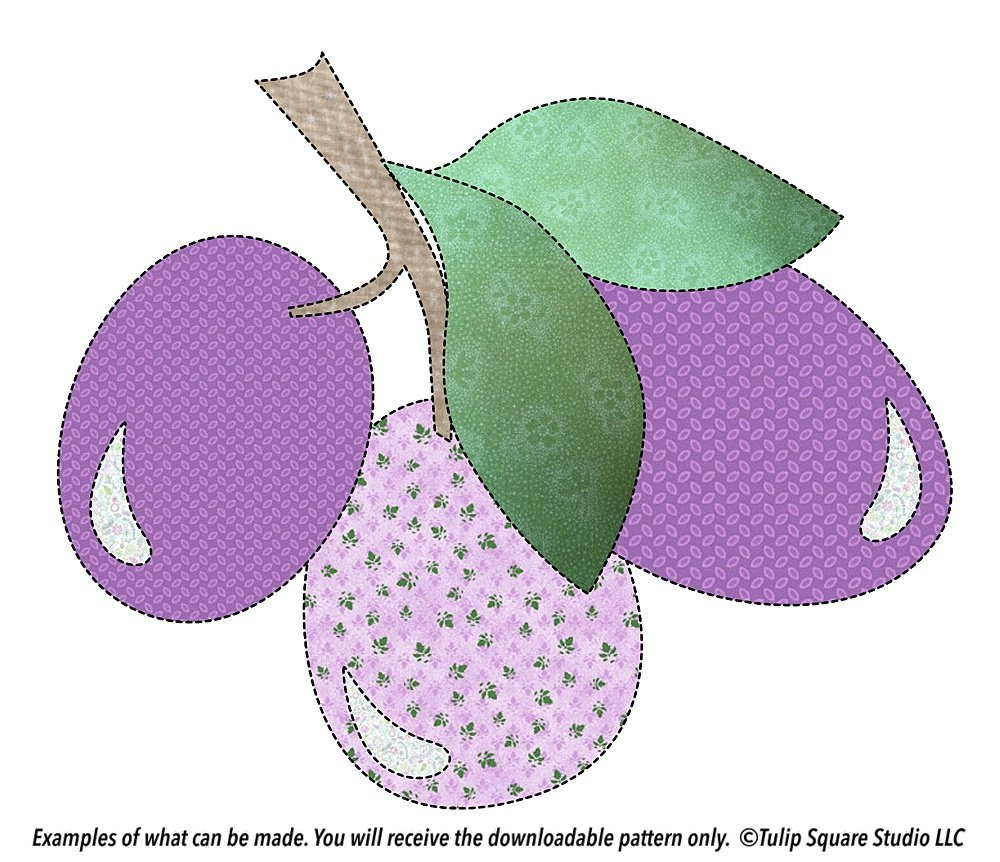 Graphic of three plums on a branch with leaves, made of patterned appliqué fabrics.