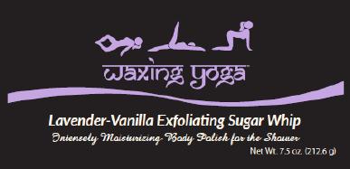 waxing yoga, lavender, vanilla, sugar scrub