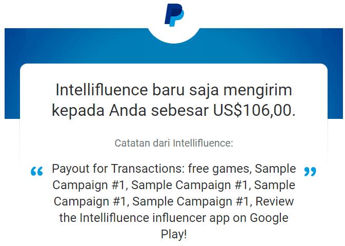 Pembayaran dari Intellifluence