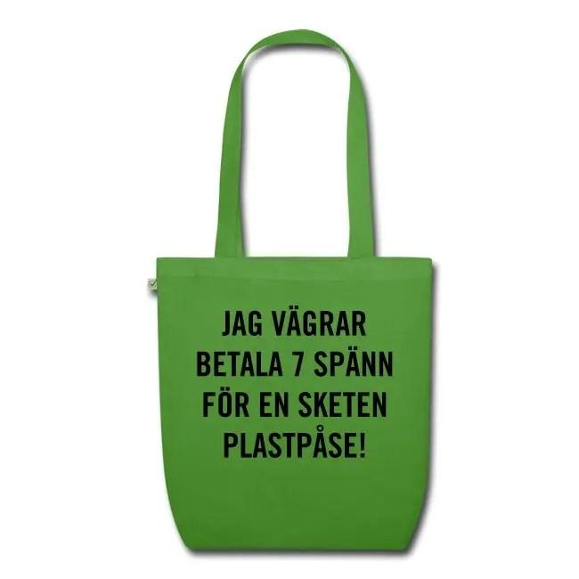 Jag vägrar betala 7 spänn för en sketen plastpåse - Ekologisk tygväska