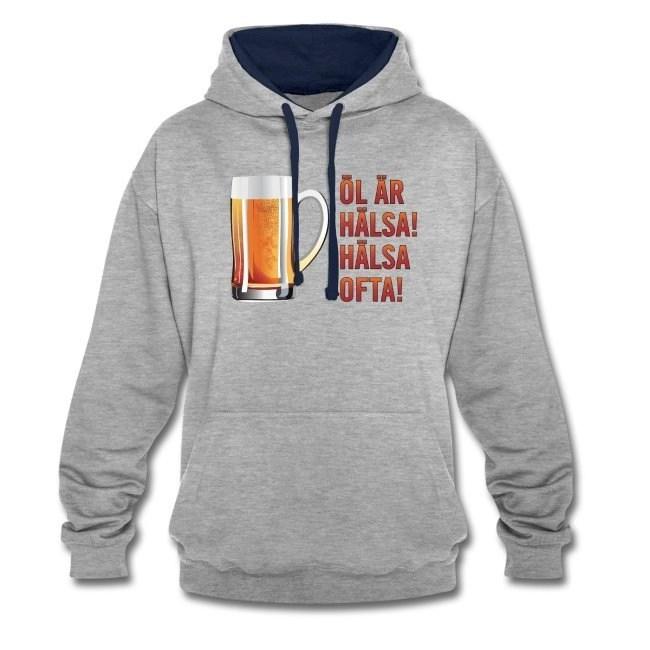 Öl är hälsa - Hälsa ofta - Kontrastluvtröja hoodie av unisexmodell